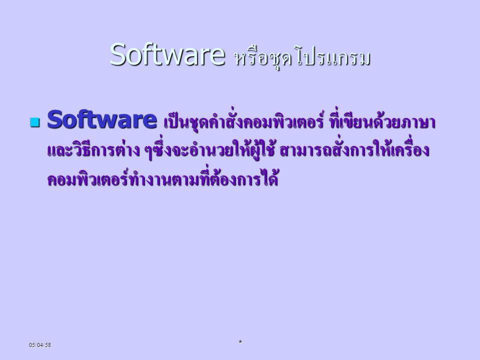 05/04/58* Software หรือชุดโปรแกรม Software เป็นชุดคำสั่งคอมพิวเตอร์ ที่เขียนด้วยภาษา และวิธีการต่าง ๆซึ่งจะอำนวยให้ผู้ใช้ สามารถสั่งการให้เครื่อง คอมพ