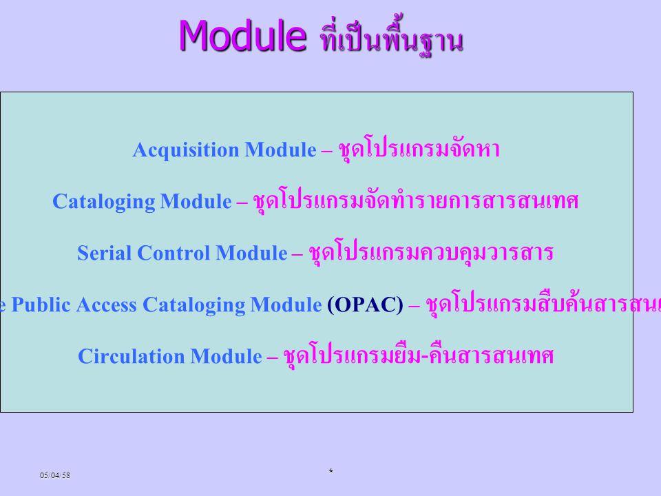 05/04/58* Module ที่เป็นพื้นฐาน Acquisition Module – ชุดโปรแกรมจัดหา Cataloging Module – ชุดโปรแกรมจัดทำรายการสารสนเทศ Serial Control Module – ชุดโปรแ