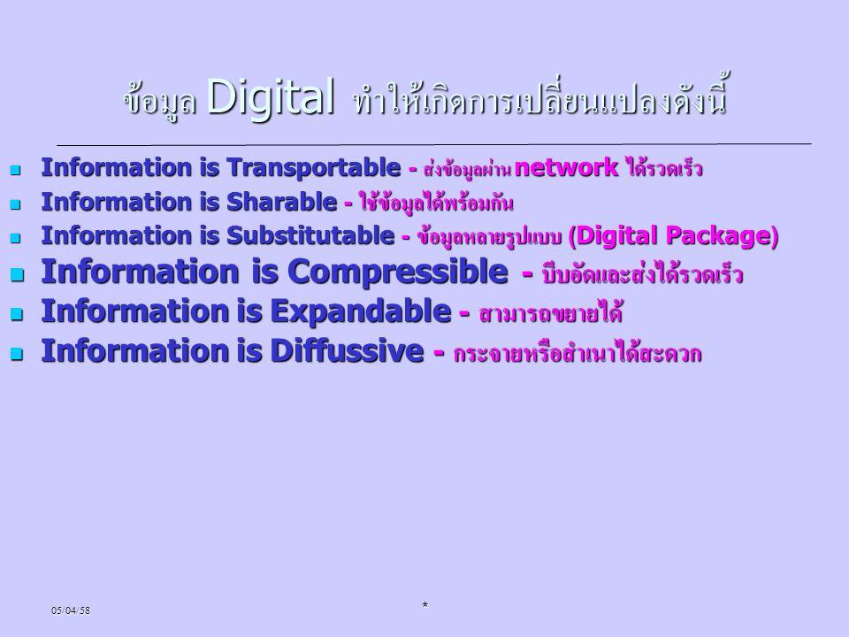 05/04/58* ข้อมูล Digital ทำให้เกิดการเปลี่ยนแปลงดังนี้ Information is Transportable - ส่งข้อมูลผ่าน network ได้รวดเร็ว Information is Transportable -