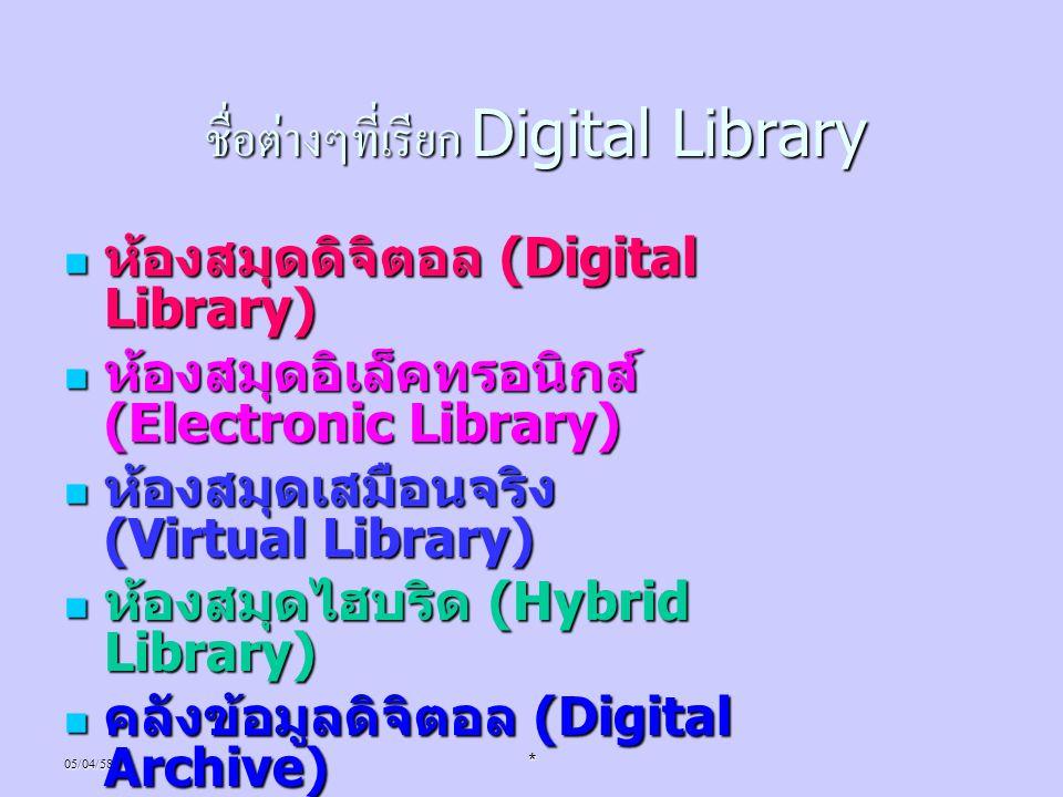 05/04/58* ชื่อต่างๆที่เรียก Digital Library ห้องสมุดดิจิตอล (Digital Library) ห้องสมุดดิจิตอล (Digital Library) ห้องสมุดอิเล็คทรอนิกส์ (Electronic Lib