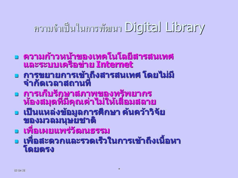 05/04/58* ความจำเป็นในการพัฒนา Digital Library ความก้าวหน้าของเทคโนโลยีสารสนเทศ และระบบเครือข่าย Internet ความก้าวหน้าของเทคโนโลยีสารสนเทศ และระบบเครื