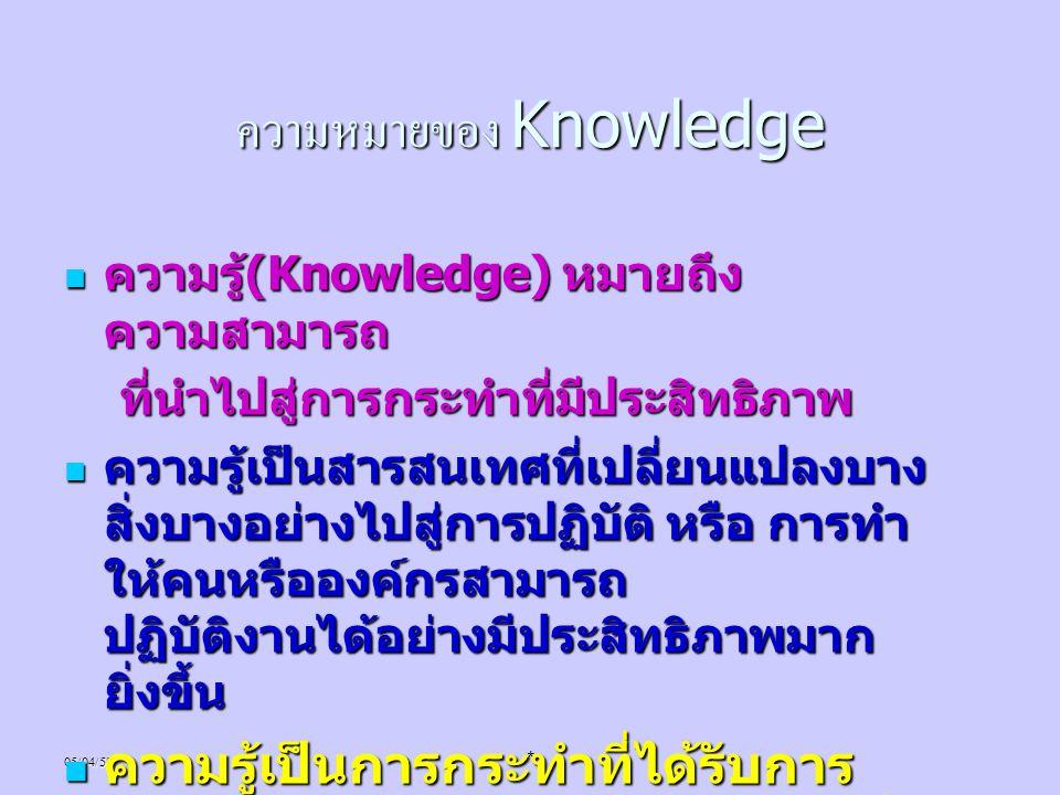 05/04/58* ความหมายของ Knowledge ความรู้ (Knowledge) หมายถึง ความสามารถ ความรู้ (Knowledge) หมายถึง ความสามารถ ที่นำไปสู่การกระทำที่มีประสิทธิภาพ ที่นำ