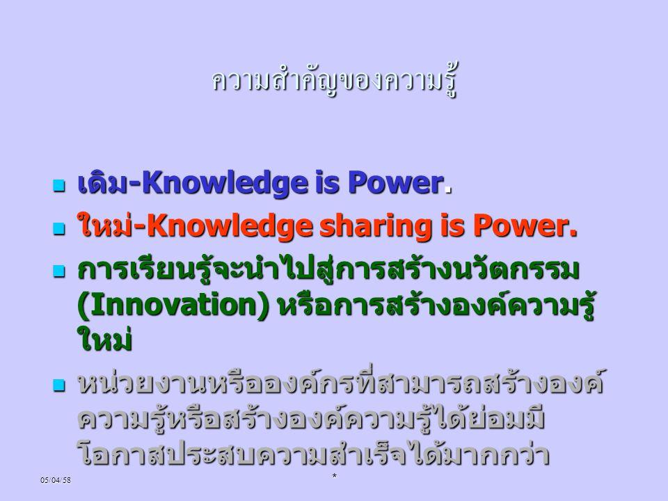 05/04/58* ความสำคัญของความรู้ เดิม -Knowledge is Power. เดิม -Knowledge is Power. ใหม่ -Knowledge sharing is Power. ใหม่ -Knowledge sharing is Power.