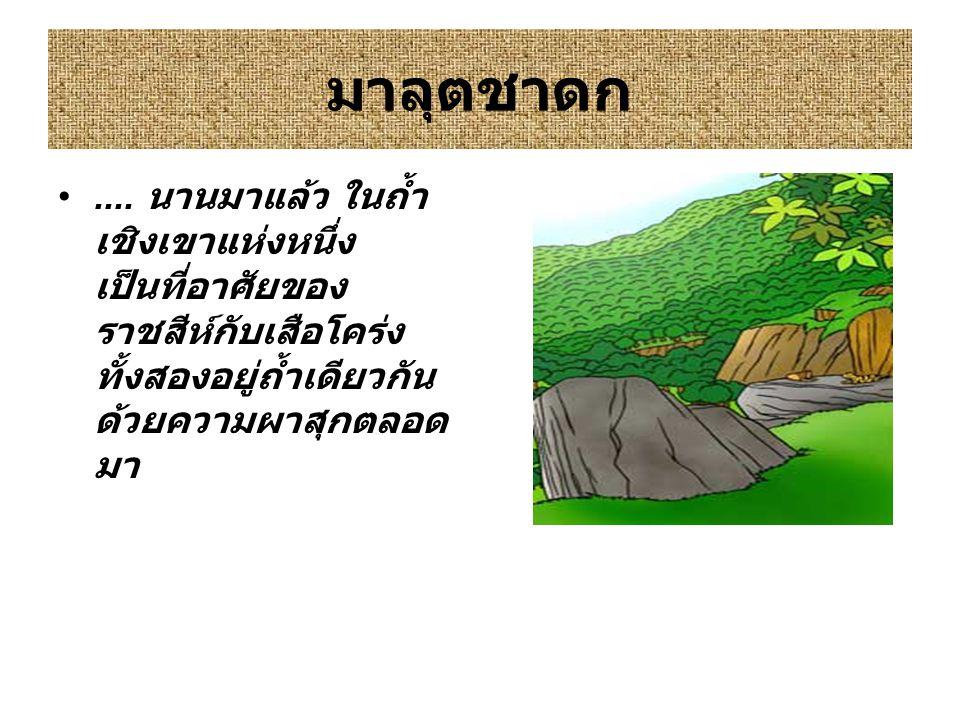 มาลุตชาดก.... นานมาแล้ว ในถ้ำ เชิงเขาแห่งหนึ่ง เป็นที่อาศัยของ ราชสีห์กับเสือโคร่ง ทั้งสองอยู่ถ้ำเดียวกัน ด้วยความผาสุกตลอด มา