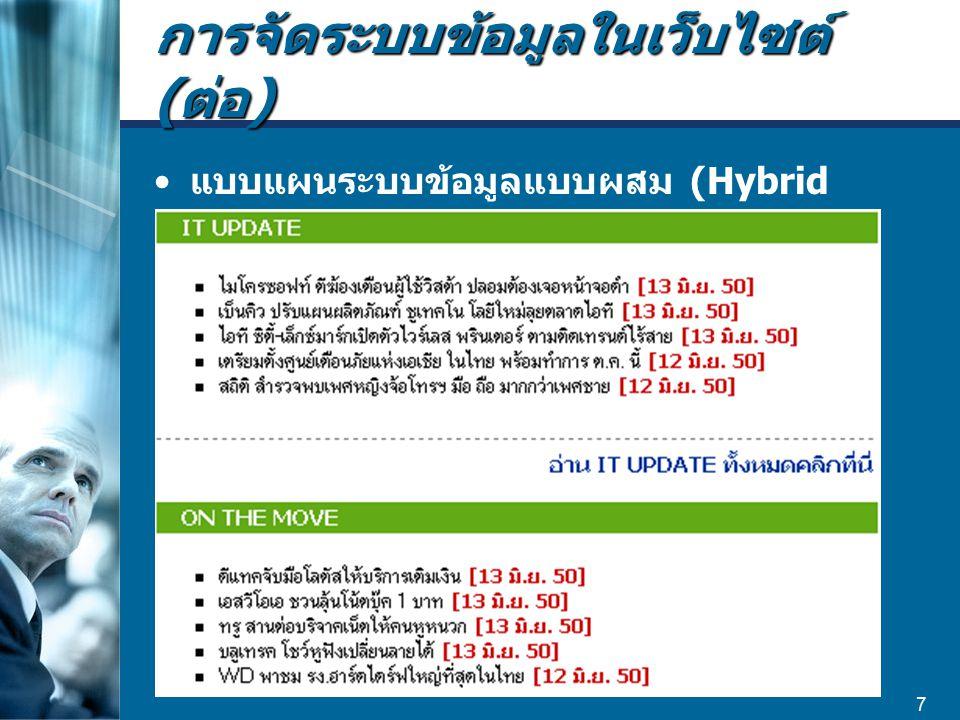 7 แบบแผนระบบข้อมูลแบบผสม (Hybrid Schemes)