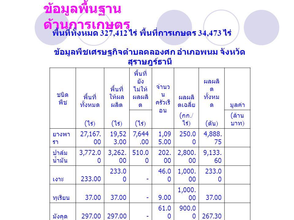 ข้อมูลพื้นฐาน ด้านการเกษตร พื้นที่ทั้งหมด 327,412 ไร่ พื้นที่การเกษตร 34,473 ไร่ ข้อมูลพืชเศรษฐกิจตำบลคลองศก อำเภอพนม จังหวัด สุราษฎร์ธานี ชนิด พืช พื