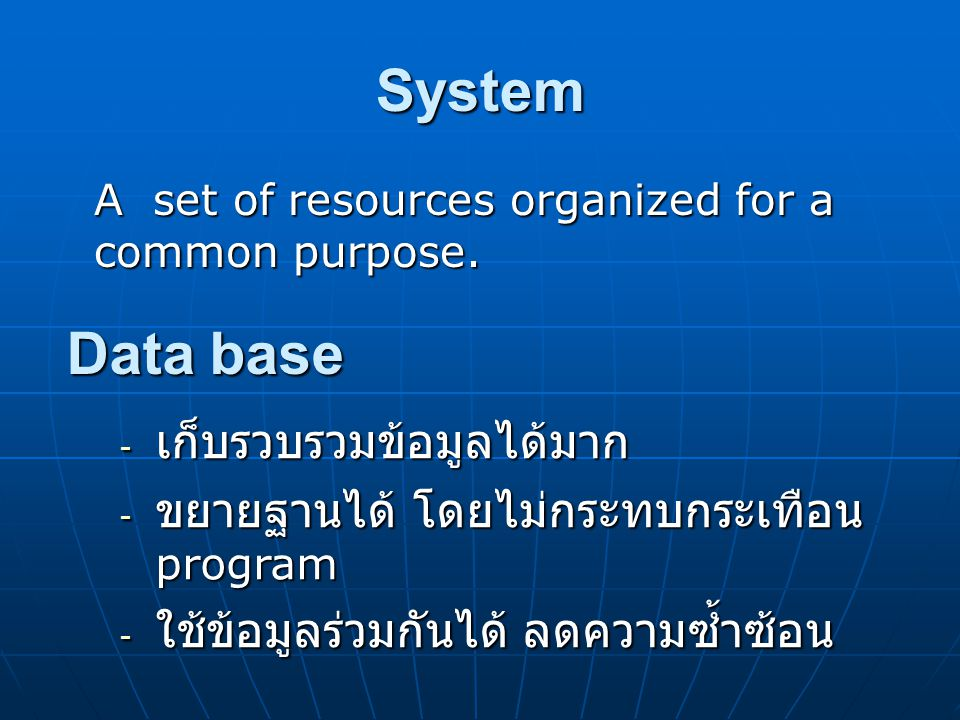 System A set of resources organized for a common purpose.