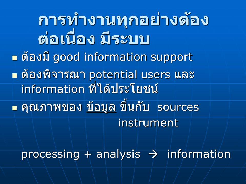 การทำงานทุกอย่างต้อง ต่อเนื่อง มีระบบ ต้องมี good information support ต้องมี good information support ต้องพิจารณา potential users และ information ที่ไ