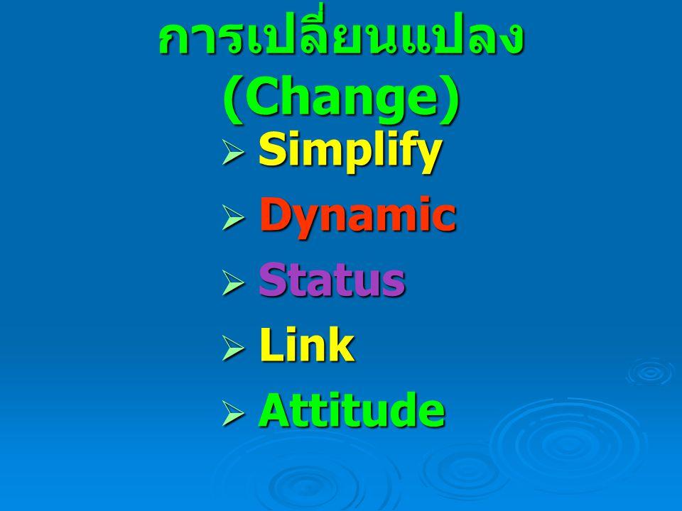 การเปลี่ยนแปลง (Change)  Simplify  Dynamic  Status  Link  Attitude