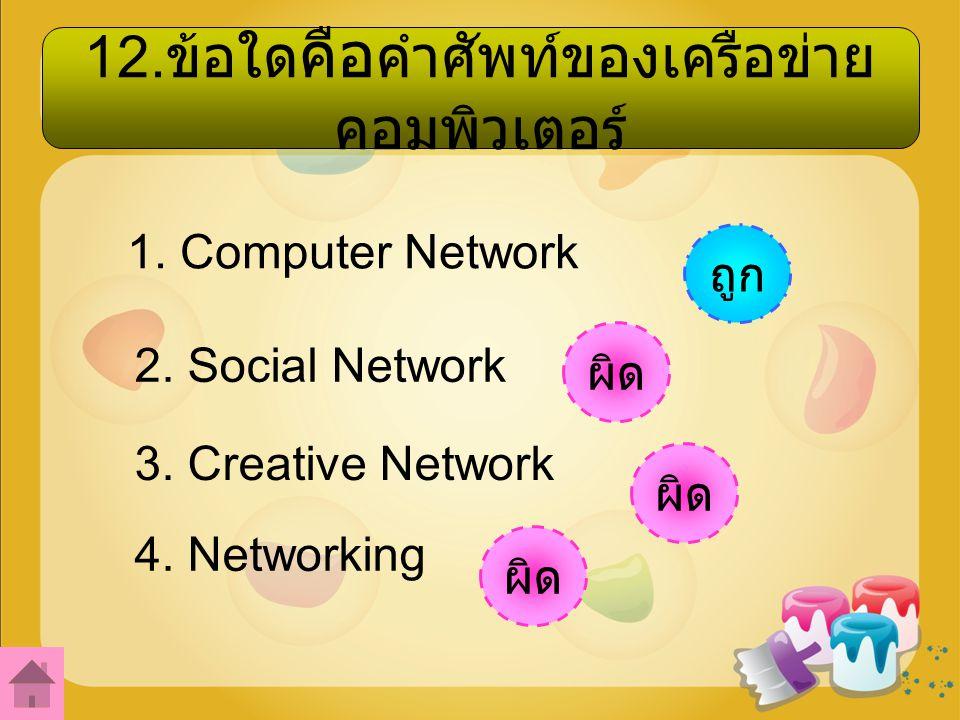 12.ข้อใด คือ คำศัพท์ของเครือข่าย คอมพิวเตอร์ 1. Computer Network 2.