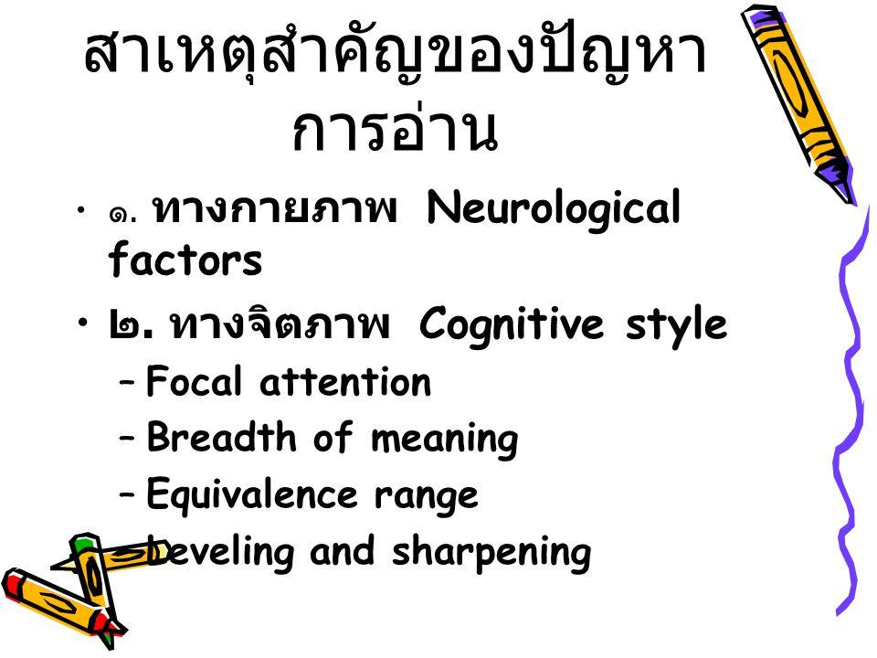 สาเหตุสำคัญของปัญหา การอ่าน ๑. ทางกายภาพ Neurological factors ๒.