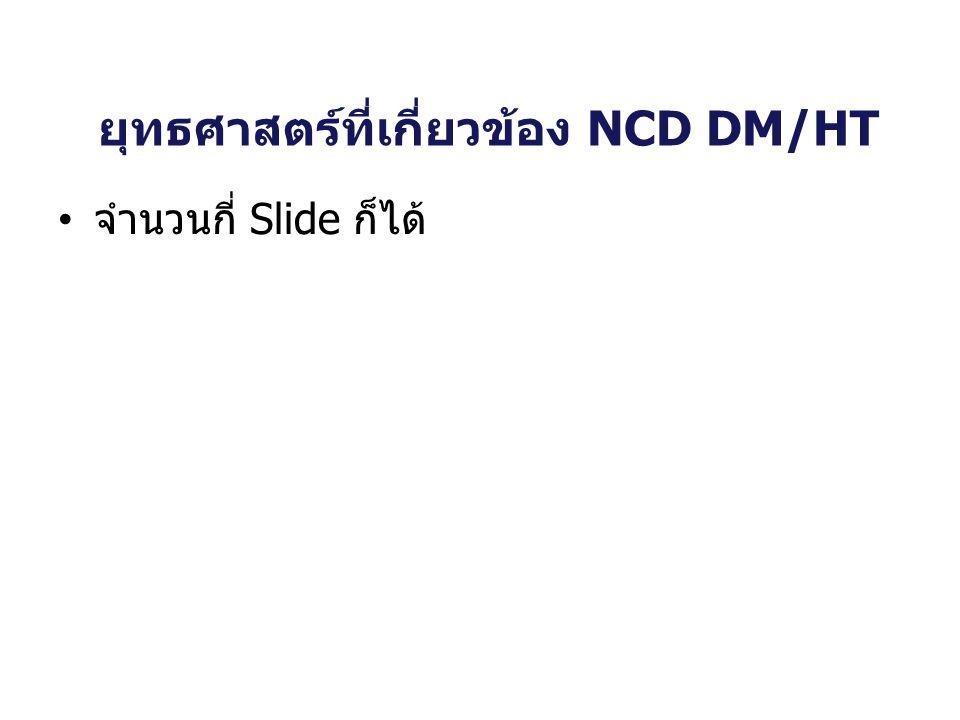 ยุทธศาสตร์ที่เกี่ยวข้อง NCD DM/HT จำนวนกี่ Slide ก็ได้