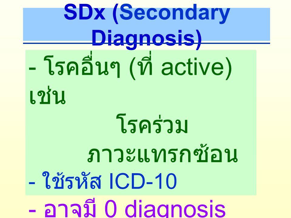Complication and Comorbidity (CC) ภาวะแทรกซ้อน หรือโรคอื่น ที่เป็นร่วมด้วย ทําให้มีความ ยุ่งยากในการรักษามากขึ้น มีการใช้ทรัพยากรในการ รักษามากขึ้น SDx => CC