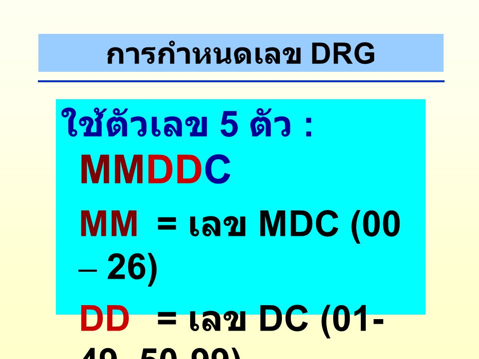 Allocation of DRG General principle Major Diagnostic Category Proce dures DRG Princi pal Diagn osis ICD10 ICD9CM Comorbidity & Complica tions ( SDx) A