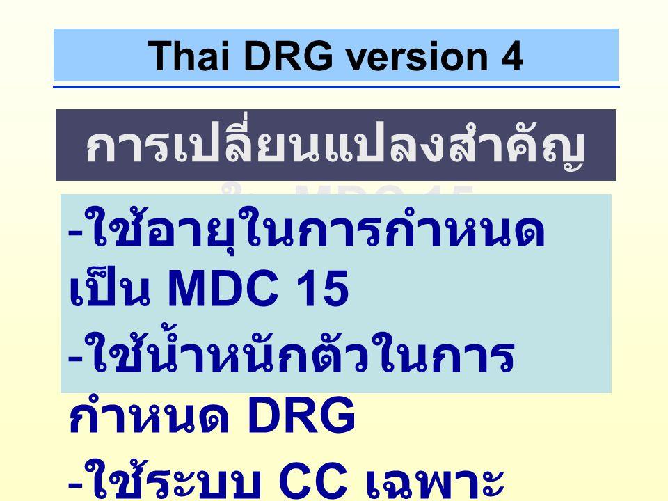 Thai DRG version 4 การเปลี่ยนแปลงสำคัญ ใน MDC 14 - PDx, SDx ต้องใช้ตาม หลักของ ICD PDx O800, SDx O140  PDx O140, SDx O800  - ใช้ระบบ CC เฉพาะ สำหรับ MDC 14
