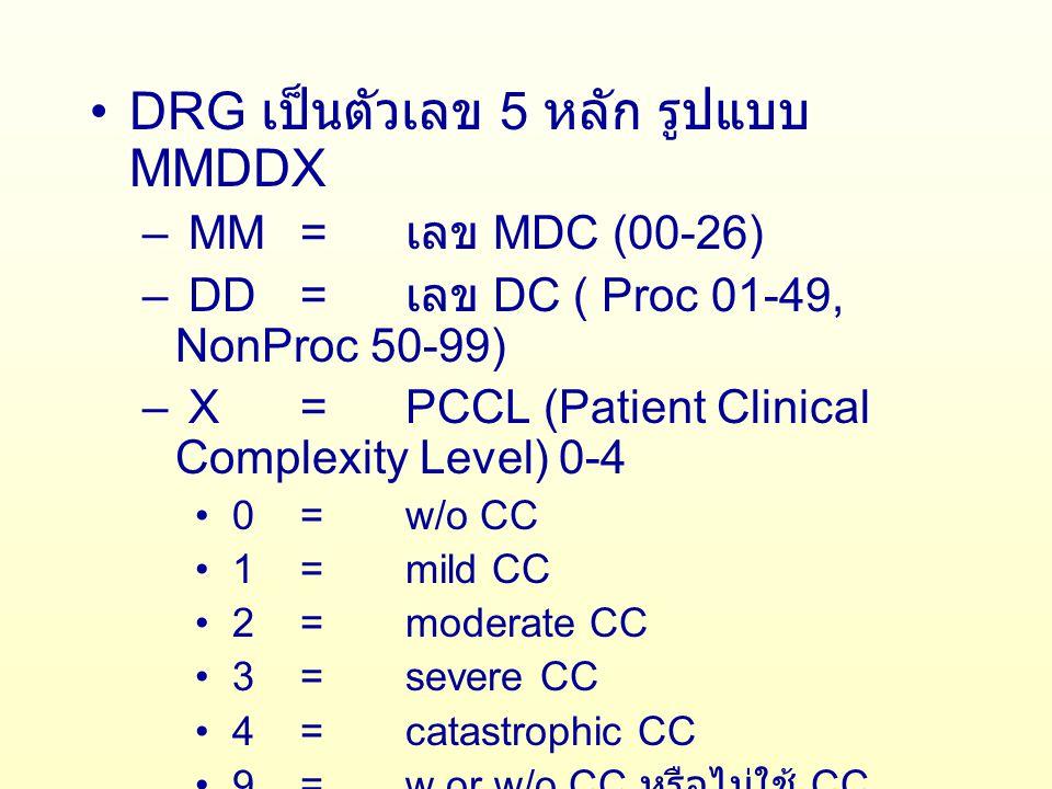 MDC เป็นเลข 2 หลัก 00 = Pre MDC 01-25= MDC 1 – MDC 25 26= กลุ่ม UN DC (Disease Cluster) เป็นเลข 4 หลัก 2 หลักแรกตาม MDC คือ 00-26 อีก 2 หลักหลังแบ่งเป็น 2 ช่วง 01-49 ถ้ามีการผ่าตัดหรือ Procedure 50-99 ถ้าไม่มีการผ่าตัดหรือ Procedure