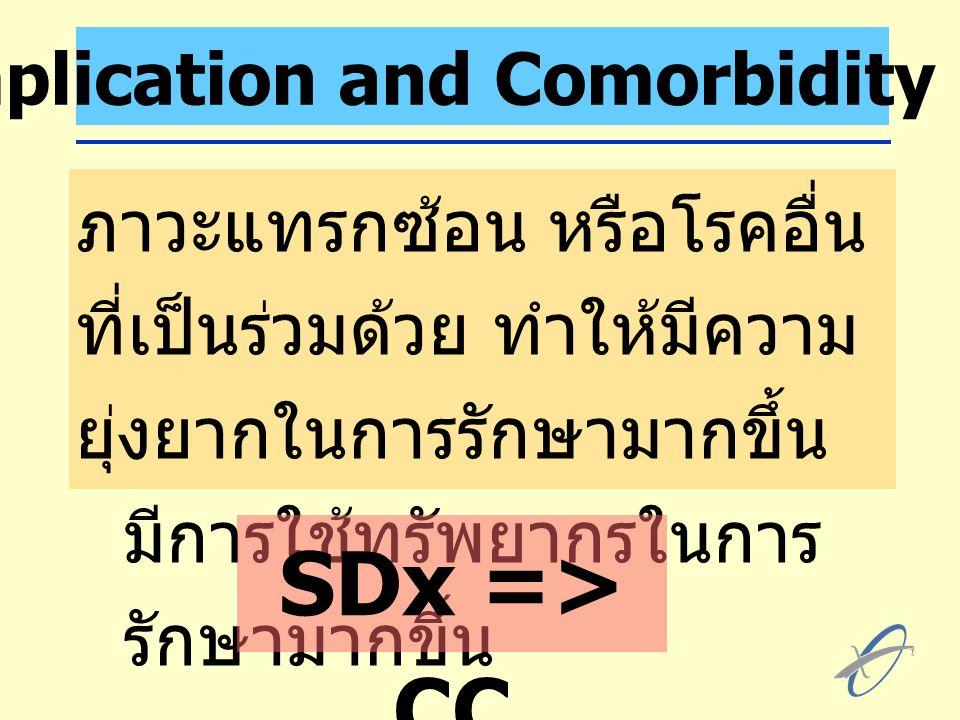 Complication and Comorbidity (CC) ภาวะแทรกซอน หรือโรคอื่น ที่เป็นรวมดวย ทําใหมีความ ยุงยากในการรักษามากขึ้น มีการใชทรัพยากรในการ รักษามากขึ้น SDx => CC