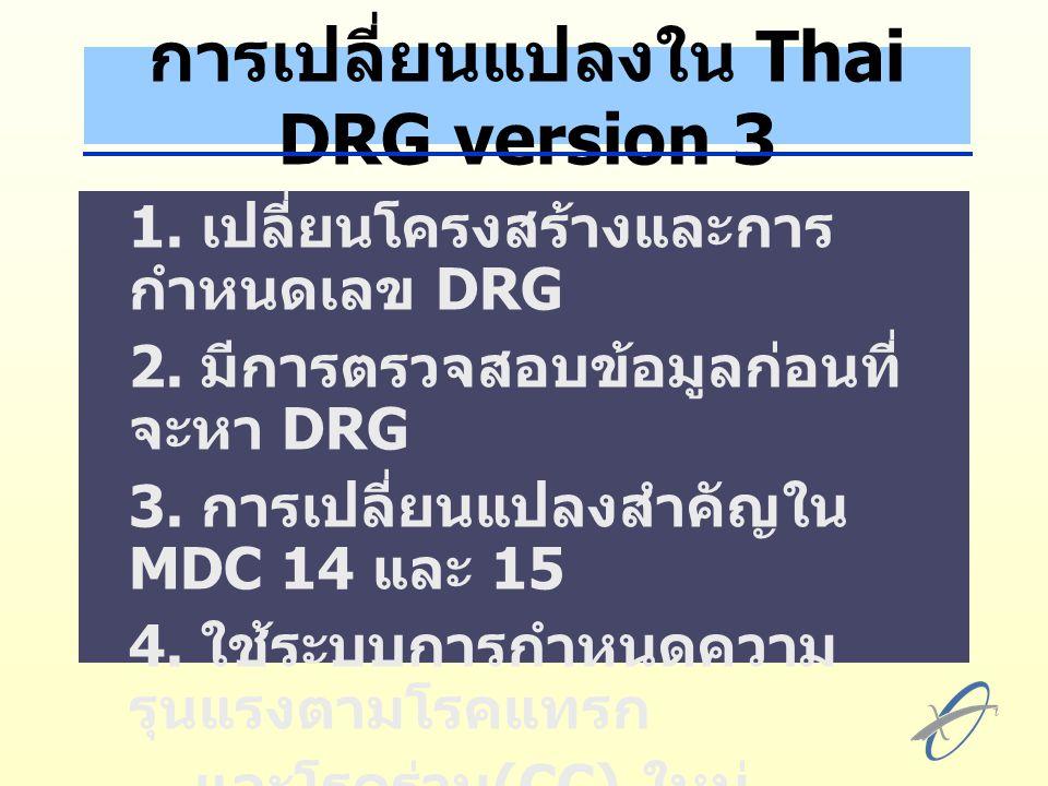 การเปลี่ยนแปลงใน Thai DRG version 3 1.เปลี่ยนโครงสร้างและการ กำหนดเลข DRG 2.