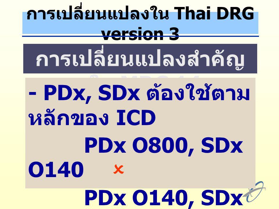 การเปลี่ยนแปลงใน Thai DRG version 3 การเปลี่ยนแปลงสำคัญ ใน MDC 14 - PDx, SDx ต้องใช้ตาม หลักของ ICD PDx O800, SDx O140  PDx O140, SDx O800  - ใช้ระบบ CC เฉพาะ สำหรับ MDC 14
