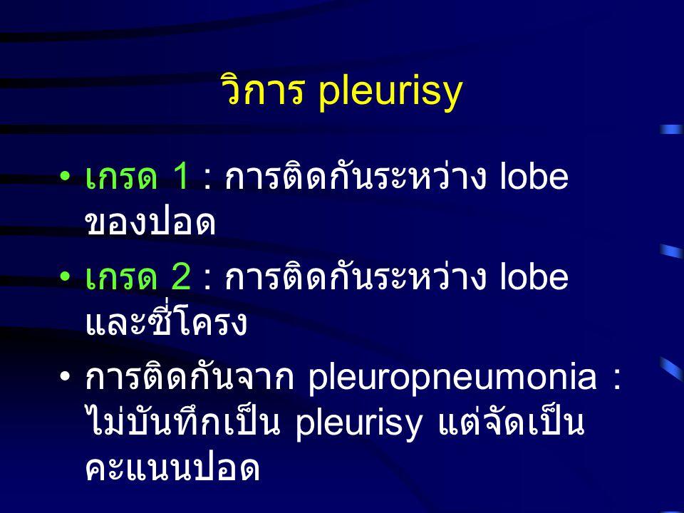 วิการ pleurisy เกรด 1 : การติดกันระหว่าง lobe ของปอด เกรด 2 : การติดกันระหว่าง lobe และซี่โครง การติดกันจาก pleuropneumonia : ไม่บันทึกเป็น pleurisy แ