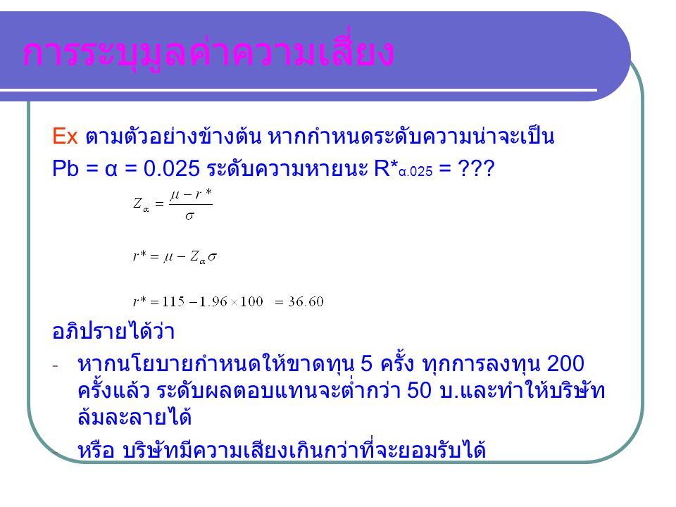 การระบุมูลค่าความเสี่ยง Ex ตามตัวอย่างข้างต้น หากกำหนดระดับความน่าจะเป็น Pb = α = 0.025 ระดับความหายนะ R* α.025 = ??? อภิปรายได้ว่า - หากนโยบายกำหนดให
