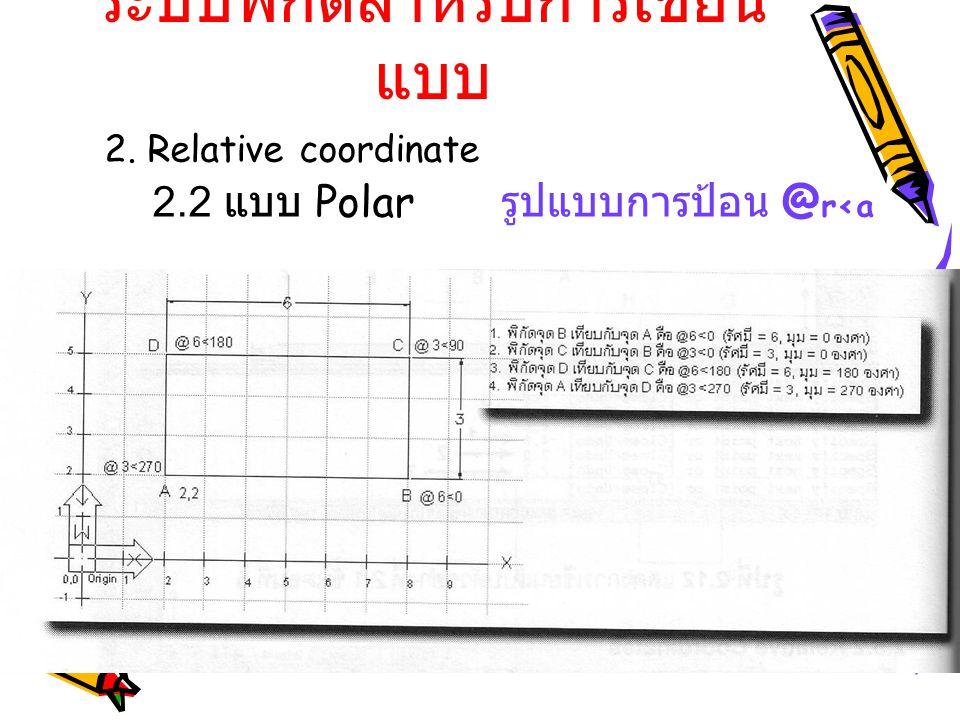 ระบบพิกัดสำหรับการเขียน แบบ 2. Relative coordinate 2.2 แบบ Polar รูปแบบการป้อน @ r<a