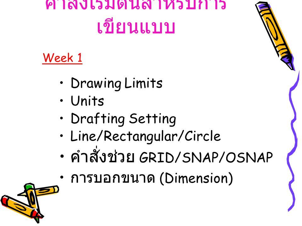 คำสั่งเริ่มต้นสำหรับการ เขียนแบบ Drawing Limits Units Drafting Setting Line/Rectangular/Circle คำสั่งช่วย GRID/SNAP/OSNAP การบอกขนาด (Dimension) Week 1