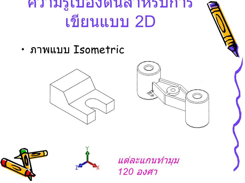 ภาพแบบ Isometric ความรู้เบื้องต้นสำหรับการ เขียนแบบ 2 D แต่ละแกนทำมุม 120 องศา