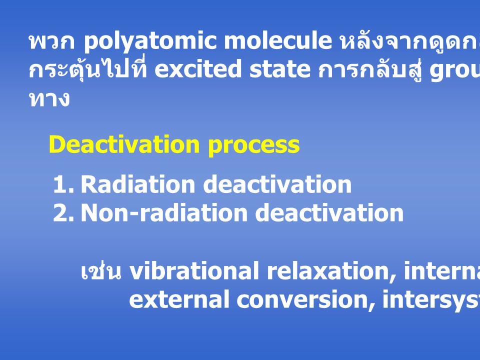 พวก polyatomic molecule หลังจากดูดกลืนแสงแล้วถูก กระตุ้นไปที่ excited state การกลับสู่ ground state มีหลาย ทาง Deactivation process 1.Radiation deactivation 2.Non-radiation deactivation เช่น vibrational relaxation, internal conversion, external conversion, intersystem crossing
