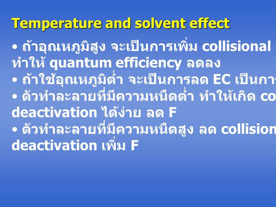 Temperature and solvent effect ถ้าอุณหภูมิสูง จะเป็นการเพิ่ม collisional deactivation ทำให้ quantum efficiency ลดลง ถ้าใช้อุณหภูมิต่ำ จะเป็นการลด EC เป็นการเพิ่ม F ตัวทำละลายที่มีความหนืดต่ำ ทำให้เกิด collisional deactivation ได้ง่าย ลด F ตัวทำละลายที่มีความหนืดสูง ลด collisional deactivation เพิ่ม F