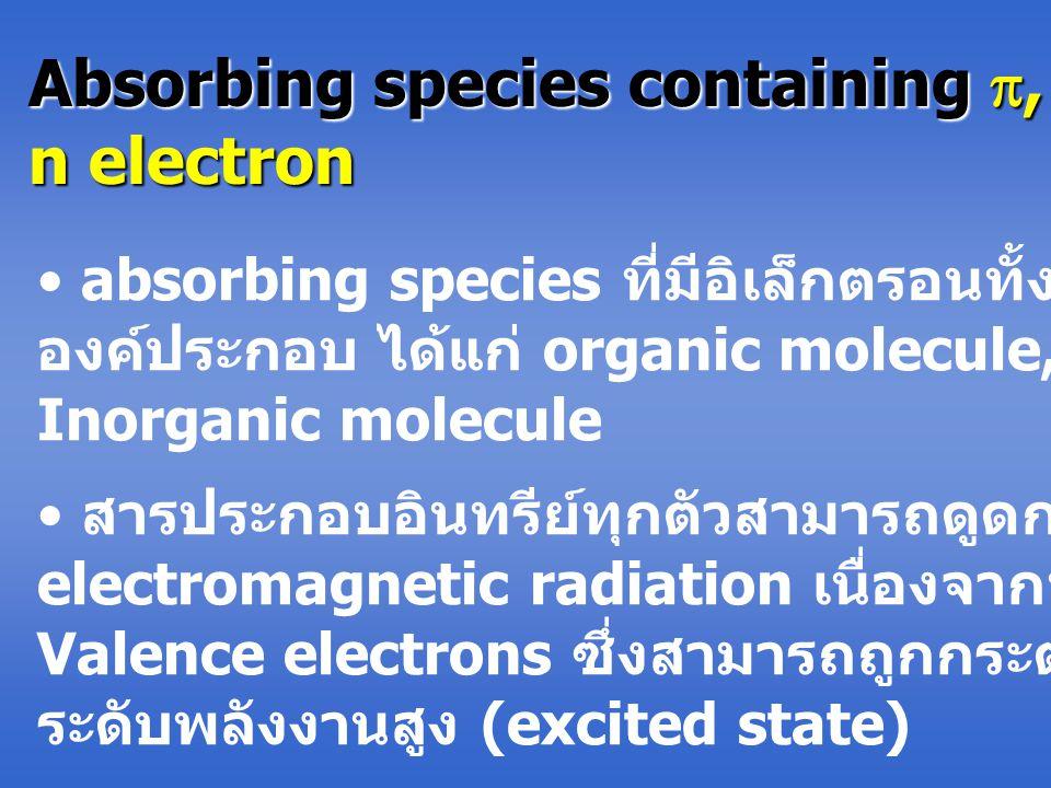 Absorbing species containing ,  and n electron absorbing species ที่มีอิเล็กตรอนทั้งสามเป็น องค์ประกอบ ได้แก่ organic molecule, ions และ Inorganic molecule สารประกอบอินทรีย์ทุกตัวสามารถดูดกลืน electromagnetic radiation เนื่องจากทุกตัวมี Valence electrons ซึ่งสามารถถูกกระตุ้นไปอยู่ใน ระดับพลังงานสูง (excited state)