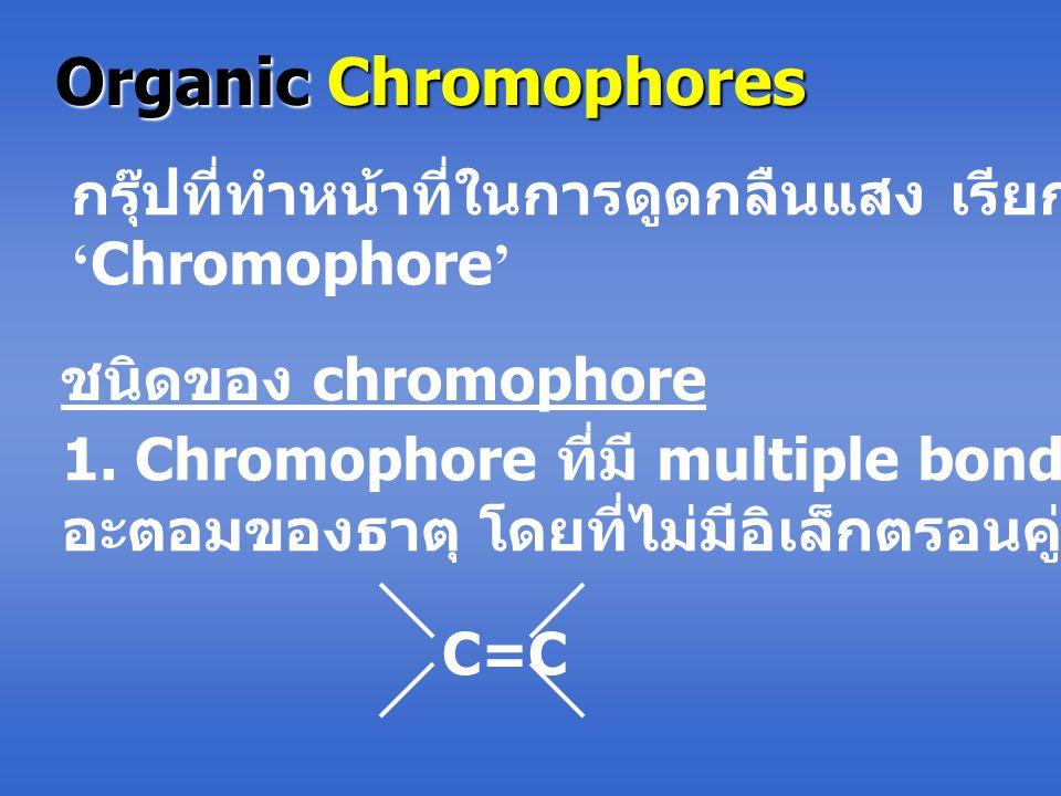 Organic Chromophores กรุ๊ปที่ทำหน้าที่ในการดูดกลืนแสง เรียกว่า ' Chromophore ' ชนิดของ chromophore 1. Chromophore ที่มี multiple bond ระหว่าง 2 อะตอมข