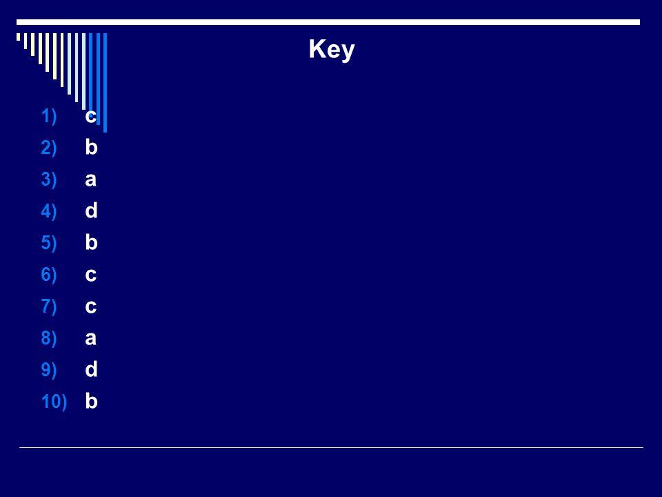 Key 1) c 2) b 3) a 4) d 5) b 6) c 7) c 8) a 9) d 10) b