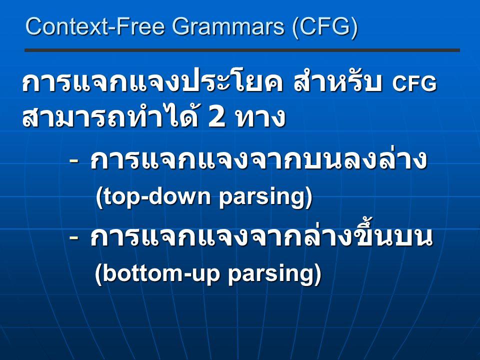 Context-Free Grammars (CFG) การแจกแจงประโยค สำหรับ CFG สามารถทำได้ 2 ทาง - การแจกแจงจากบนลงล่าง (top-down parsing) (top-down parsing) - การแจกแจงจากล่