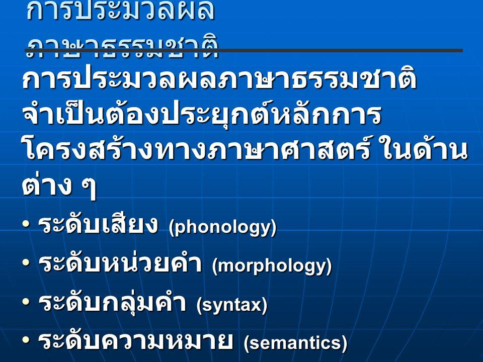 การประมวลผล ภาษาธรรมชาติ การประมวลผลภาษาธรรมชาติ จำเป็นต้องประยุกต์หลักการ โครงสร้างทางภาษาศาสตร์ ในด้าน ต่าง ๆ ระดับเสียง (phonology) ระดับเสียง (pho