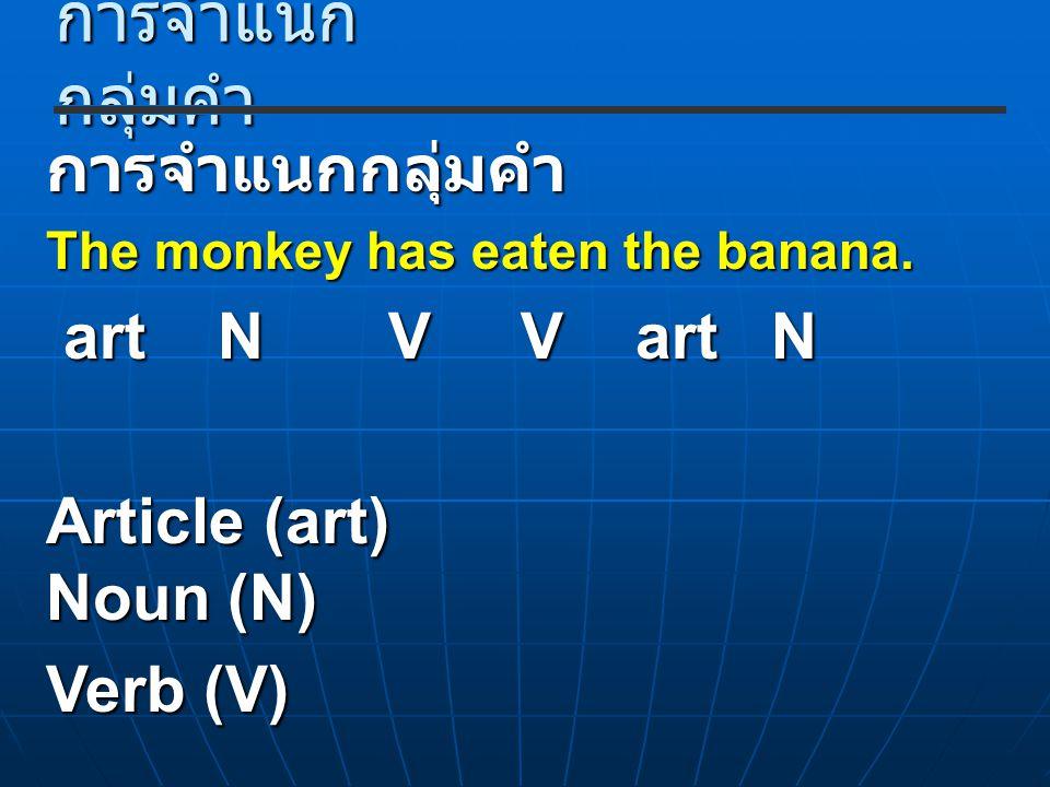 การจำแนก กลุ่มคำ การจำแนกกลุ่มคำ The monkey has eaten the banana. art N V V art N art N V V art N Article (art) Noun (N) Verb (V)