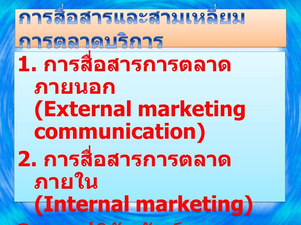 การสื่อสารการตลาด ภายใน - การสื่อสารแนวตั้ง - การสื่อสาร แนวนอน การสื่อสารการตลาด ภายนอก - การโฆษณา - การส่งเสริมการขาย - การประชาสัมพันธ์ - การตลาดทางตรง ผู้ ให้บริการ ลูก ค้า การปฏิสัมพันธ์ทางการตลาด - การขายโดยบุคคล - ศูนย์กลางบริการลูกค้า - การให้บริการแบบเผชิญหน้า - สิ่งแวดล้อมทางกายภาพ บริษั ท