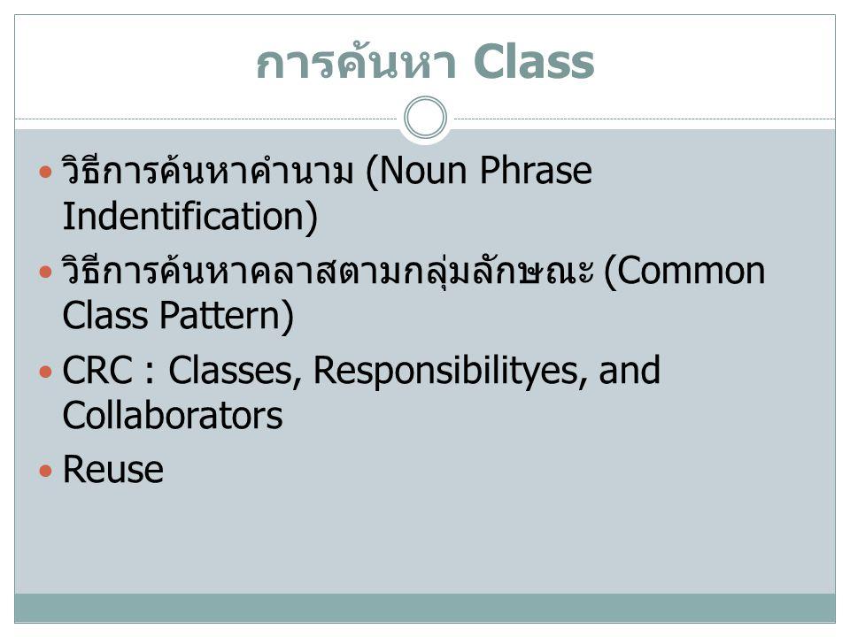 การค้นหา Class วิธีการค้นหาคำนาม (Noun Phrase Indentification) วิธีการค้นหาคลาสตามกลุ่มลักษณะ (Common Class Pattern) CRC : Classes, Responsibilityes,