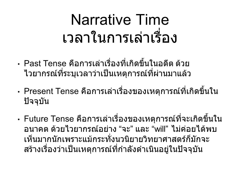 Narrative Time เวลาในการเล่าเรื่อง Past Tense คือการเล่าเรื่องที่เกิดขึ้นในอดีต ด้วย ไวยากรณ์ที่ระบุเวลาว่าเป็นเหตุการณ์ที่ผ่านมาแล้ว Present Tense คื