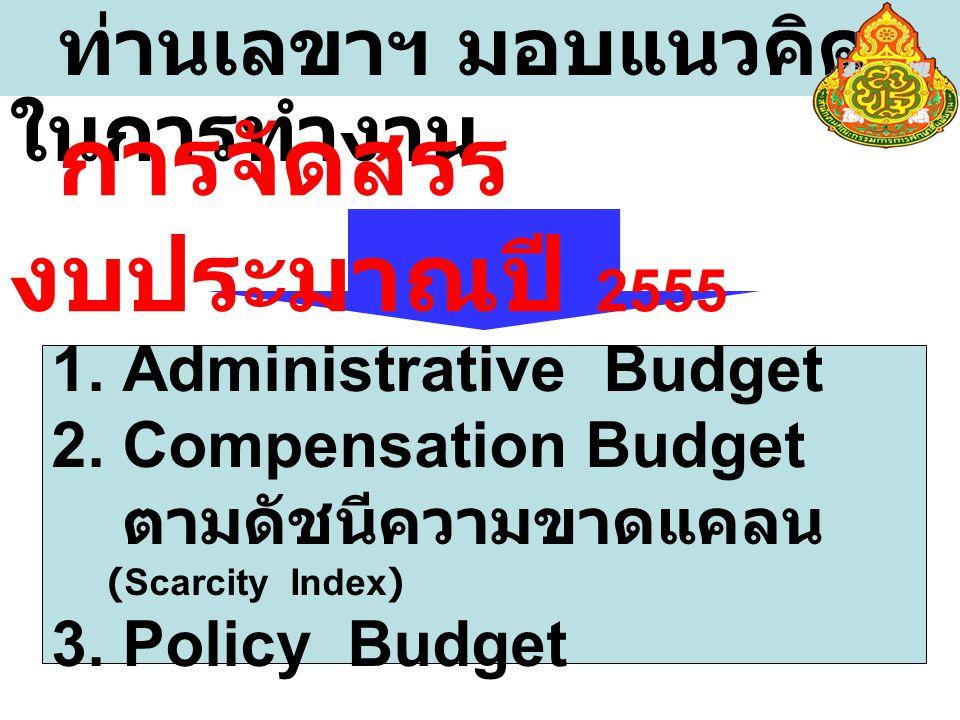 ท่านเลขาฯ มอบแนวคิด ในการทำงาน 1. Administrative Budget 2.