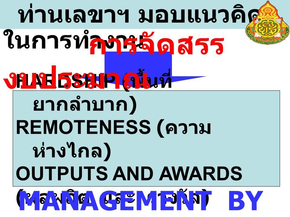 ท่านเลขาฯ มอบแนวคิด ในการทำงาน HARDSHIP ( พื้นที่ ยากลำบาก ) REMOTENESS ( ความ ห่างไกล ) OUTPUTS AND AWARDS ( ผลผลิต และ รางวัล ) การจัดสรร งบประมาณ MANAGEMENT BY SUPPORT