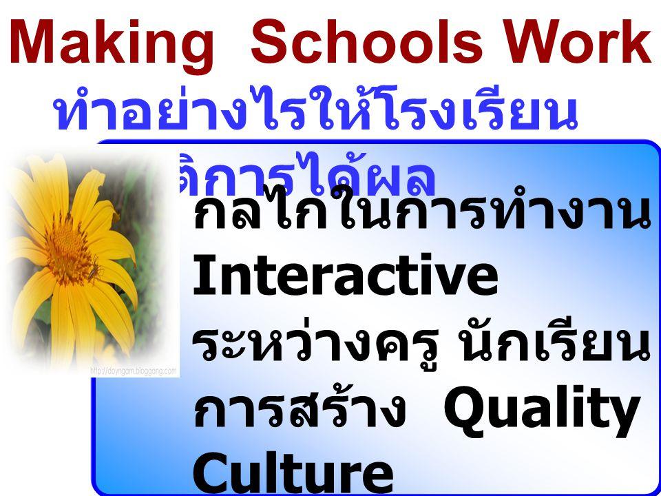 Making Schools Work ทำอย่างไรให้โรงเรียน ปฏิบัติการได้ผล กลไกในการทำงาน Interactive ระหว่างครู นักเรียน การสร้าง Quality Culture