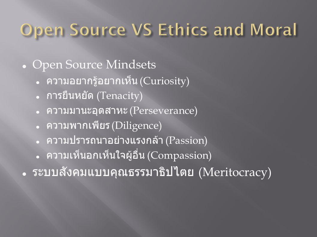 Open Source Mindsets ความอยากรู้อยากเห็น (Curiosity) การยืนหยัด (Tenacity) ความมานะอุตสาหะ (Perseverance) ความพากเพียร (Diligence) ความปรารถนาอย่างแรงกล้า (Passion) ความเห็นอกเห็นใจผู้อื่น (Compassion) ระบบสังคมแบบคุณธรรมาธิปไตย (Meritocracy)