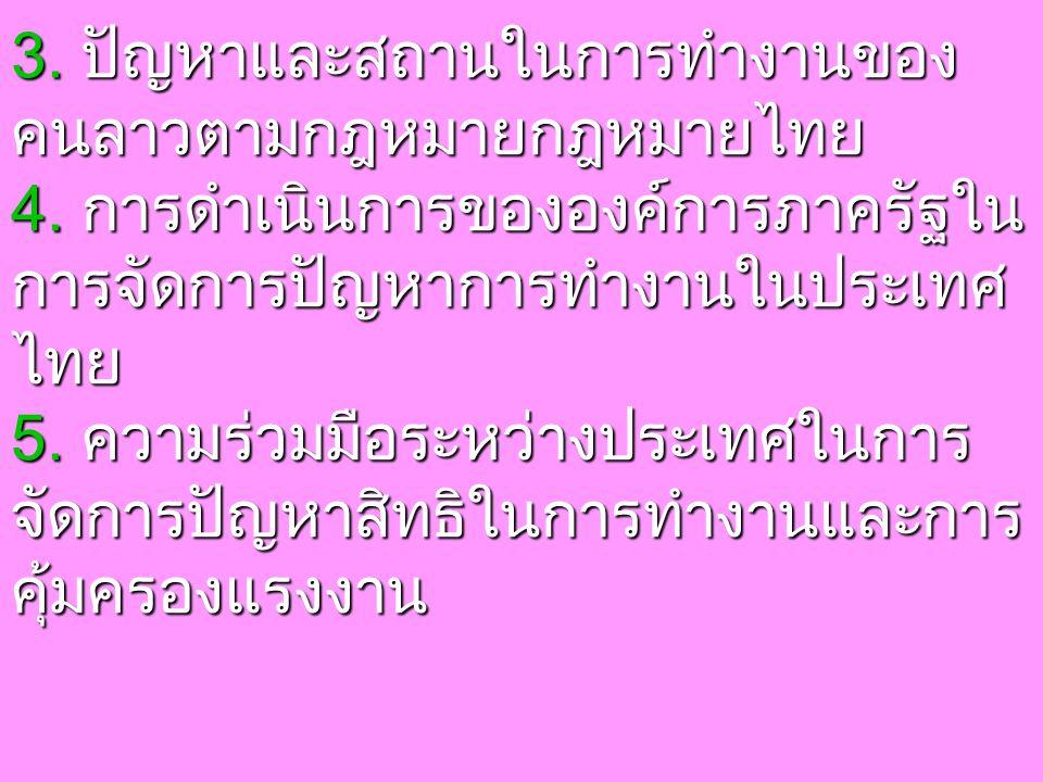 3. ปัญหาและสถานในการทำงานของ คนลาวตามกฎหมายกฎหมายไทย 4.
