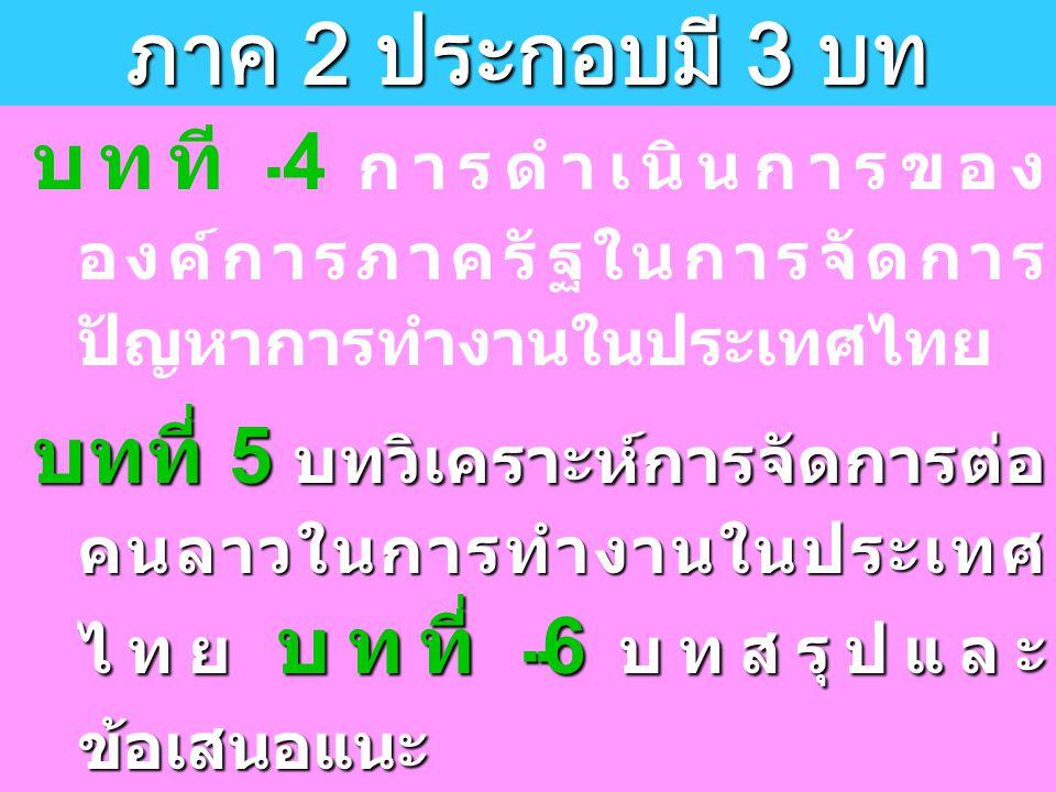 บทที 4 การดำเนินการของ องค์การภาครัฐในการจัดการ ปัญหาการทำงานในประเทศไทย บทที่ 5 บทวิเคราะห์การจัดการต่อ คนลาวในการทำงานในประเทศ ไทย บทที่ 6 บทสรุปและ ข้อเสนอแนะ ซึ่งรายละเอียดในแต่ละบทมี ดังต่อไปนี้ ภาค 2 ประกอบมี 3 บท