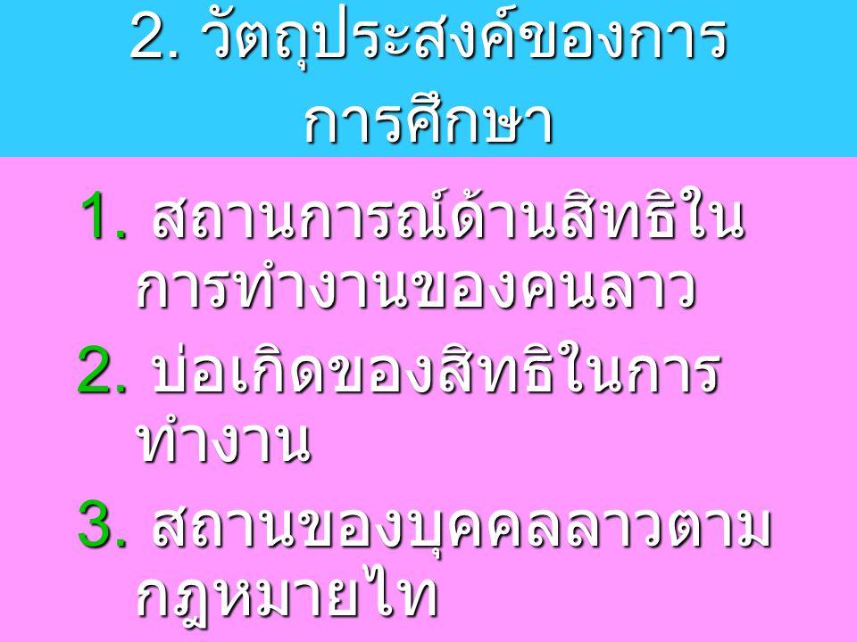 4.การดำเนินการขององค์การ ภาครัฐในการจัดการปัญหาการ ทำงาน และ การคุ้มครองแรงงาน ลาวในประเทศไทย 5.