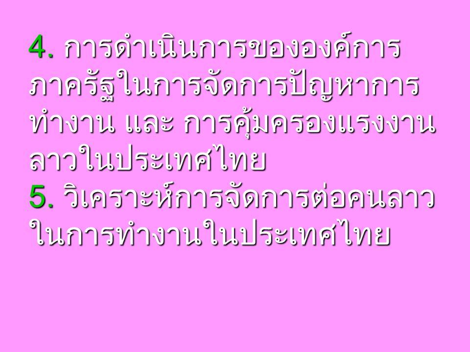 4. การดำเนินการขององค์การ ภาครัฐในการจัดการปัญหาการ ทำงาน และ การคุ้มครองแรงงาน ลาวในประเทศไทย 5.