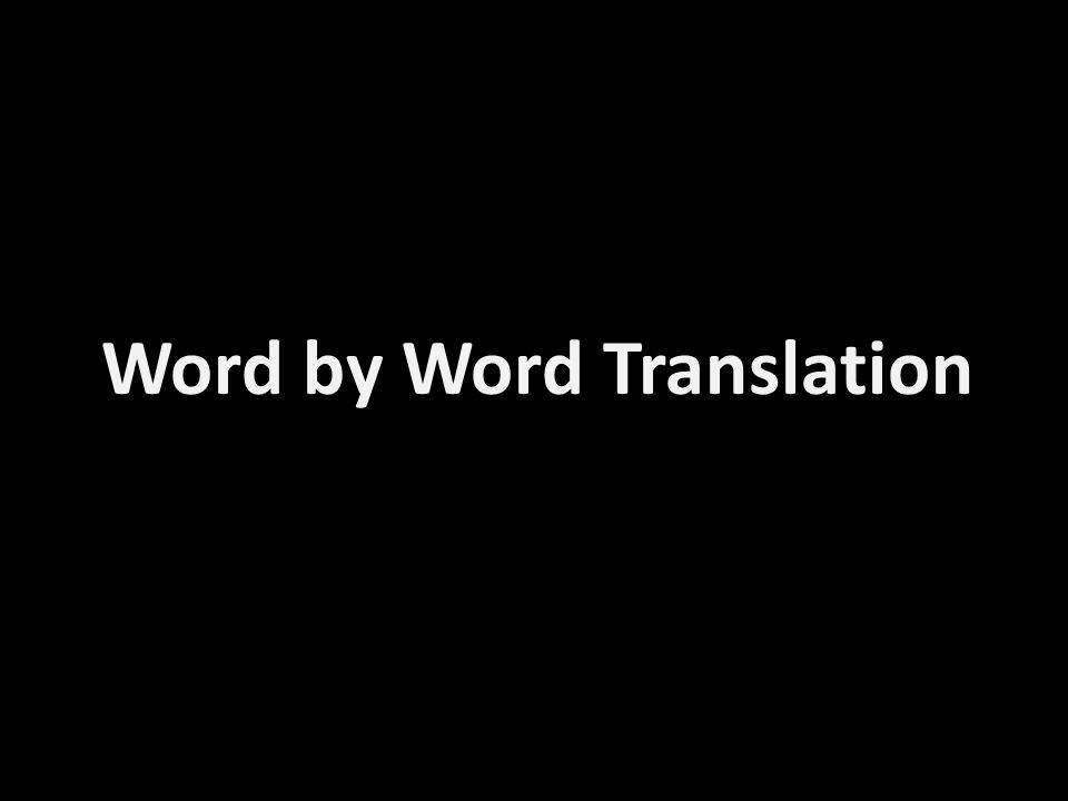 Word by Word Translation