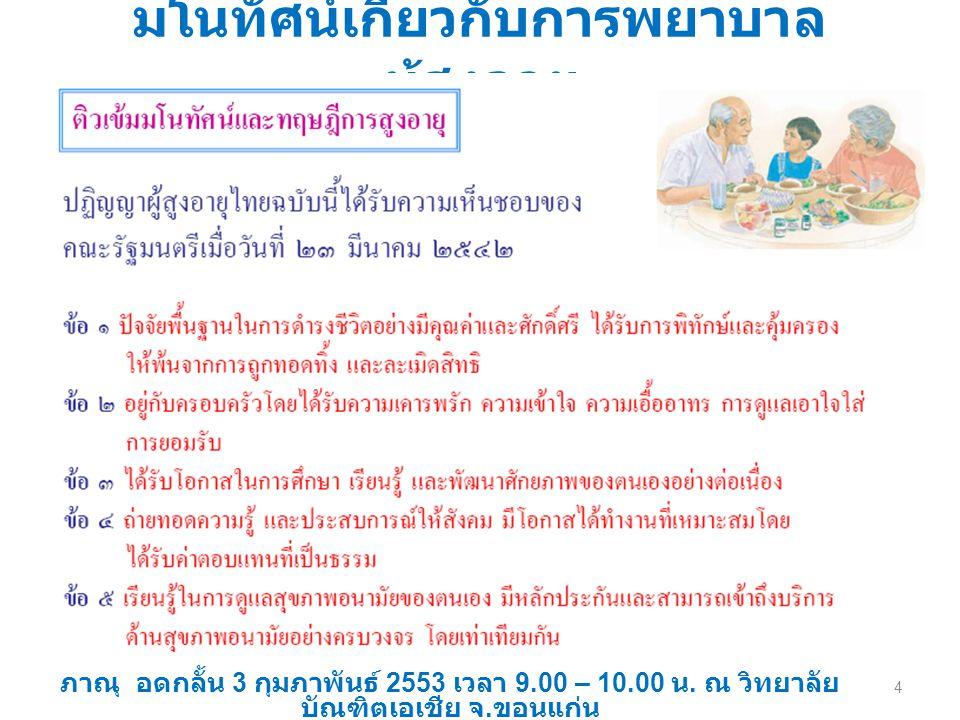 มโนทัศน์เกี่ยวกับการพยาบาล ผู้สูงอายุ ภาณุ อดกลั้น 3 กุมภาพันธ์ 2553 เวลา 9.00 – 10.00 น. ณ วิทยาลัย บัณฑิตเอเชีย จ. ขอนแก่น 4