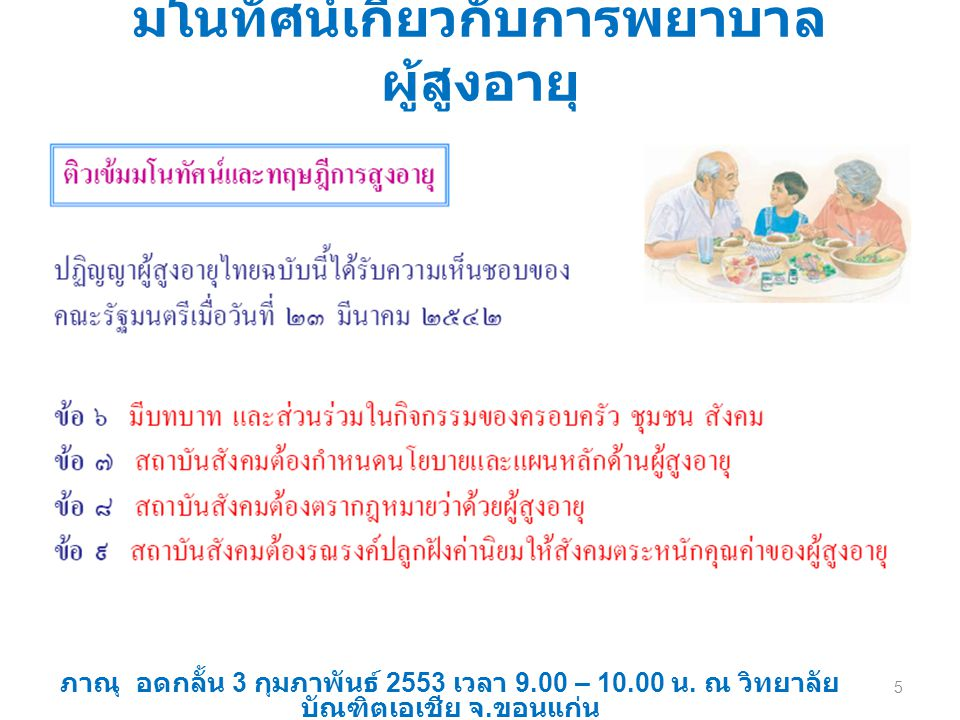 มโนทัศน์เกี่ยวกับการพยาบาล ผู้สูงอายุ ภาณุ อดกลั้น 3 กุมภาพันธ์ 2553 เวลา 9.00 – 10.00 น. ณ วิทยาลัย บัณฑิตเอเชีย จ. ขอนแก่น 5